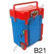 Cadii School Bag - B21 (Red Lid - Light Blue Body)