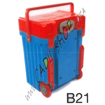 Cadii School Bag - B21 (Red Lid - Light Blue Body)