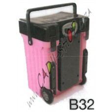 Cadii School Bag - B32 (Black Lid - Pink Body)