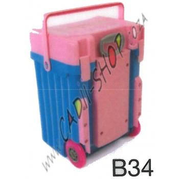 Cadii School Bag - B34 (Pink Lid - Blue Body)