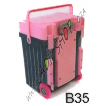 Cadii School Bag - B35 (Pink Lid - Navy Blue Body)