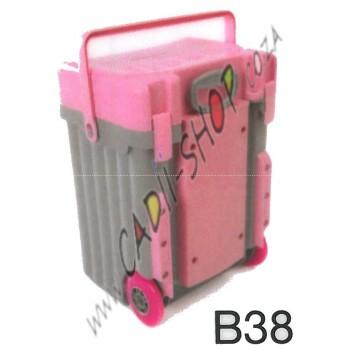 Cadii School Bag - B38 (Pink Lid - Grey Body)