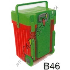 Cadii School Bag - B46 (Green Lid - Red Body)