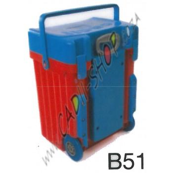 Cadii School Bag - B51 (Light Blue Lid - Red Body)