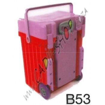 Cadii School Bag - B53 (Lilac Lid - Red Body)