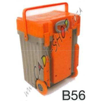 Cadii School Bag - B56 (Orange Lid - Khaki Body)