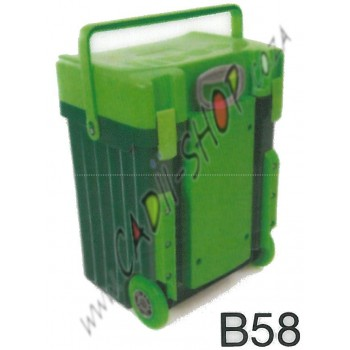 Cadii School Bag - B58 (Green lid - Dark Green Body)