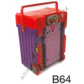 Cadii School Bag - B64 (Red Lid - Purple Body)