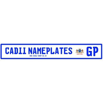 Cadii Custom Name Plate - GP Number Plate style