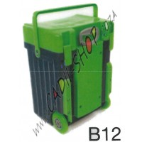 Cadii School Bag - B12 (Green Lid - Navy Blue Body)