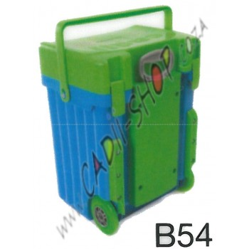 Cadii School Bag - B54 (Green Lid - Light Blue Body)
