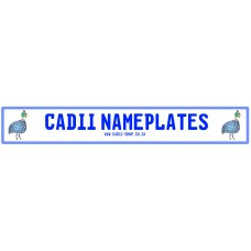 Cadii Custom Name Plate - Guinea Fowl Blue