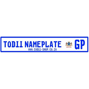 Todii Custom name plate - GP Registration Plate